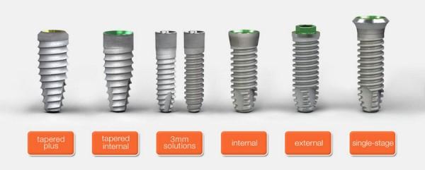 Применяемые модели имплантов
